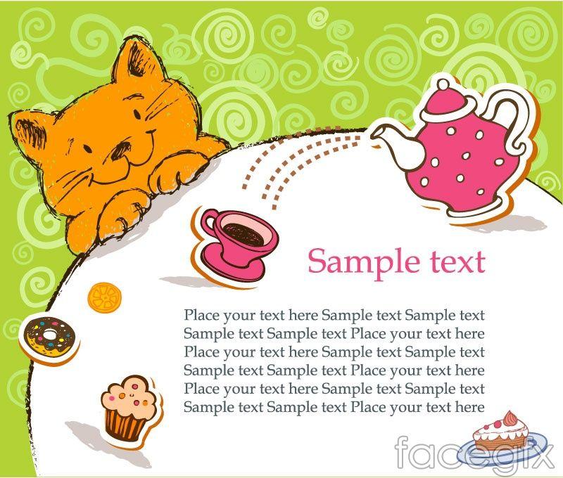 Cartoon Cat Background Vector Cat Birthday Card Vector Free Cat Birthday