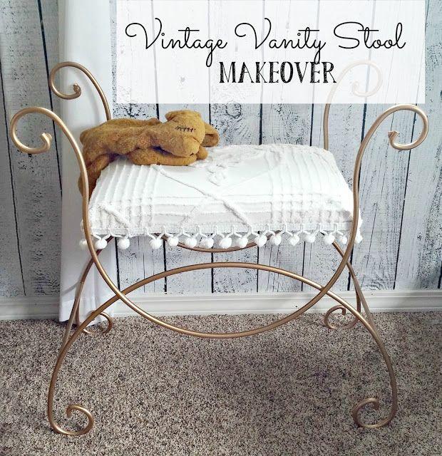 Magnificent Vintage Vanity Stool Makeover Vanity Stool Stool Makeover Andrewgaddart Wooden Chair Designs For Living Room Andrewgaddartcom