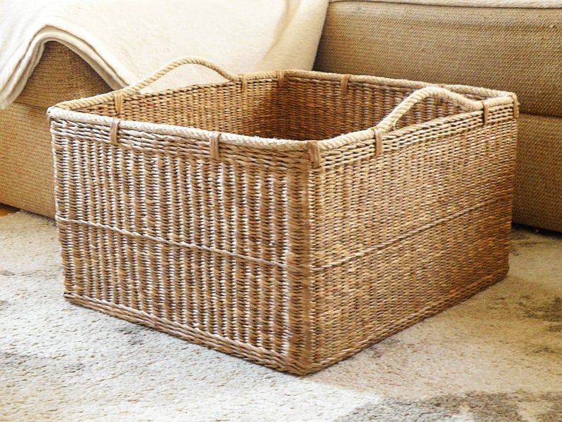 Wicker Laundry Basket Handwoven Rectangle Basket With Handle Storage Hamper Basket Firewood Basket Toy Basket Woven Large Basket For Blanket Firewood Basket Blanket Basket Wicker Laundry Basket