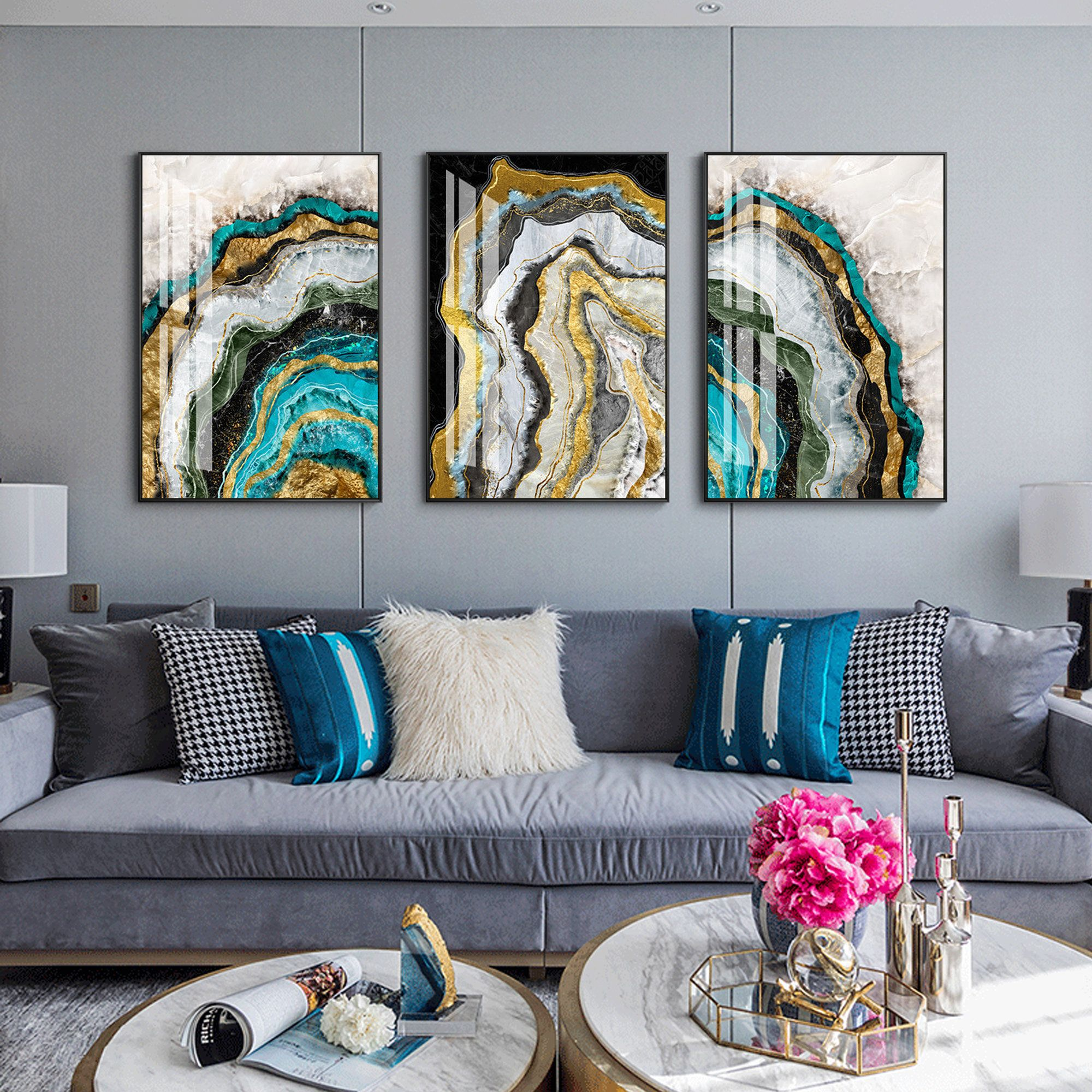 Set Of 3 Wall Art Gold Art Marble Wall Decor Teal Blue Etsy In 2020 Marble Wall Wall Art Painting Painting Frames