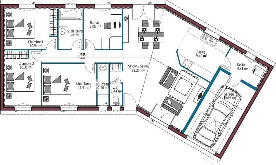 Plan De Maison Maison Plain Pied 1 Faire