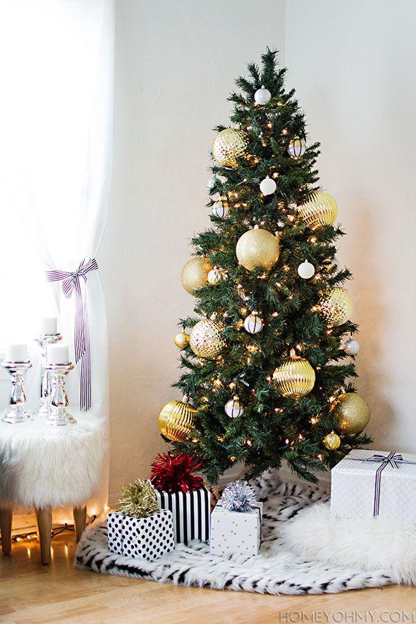 Gold Christmas Tree | Skinny christmas tree, Christmas ...
