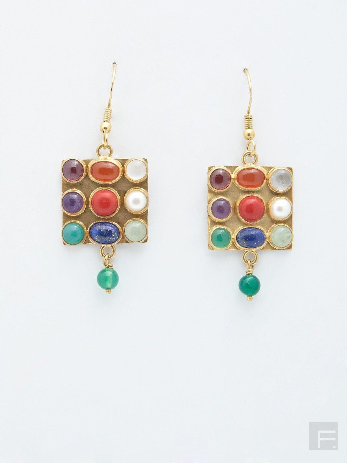 FabIndia Multi Stone Drop Earrings Indian Jewelry