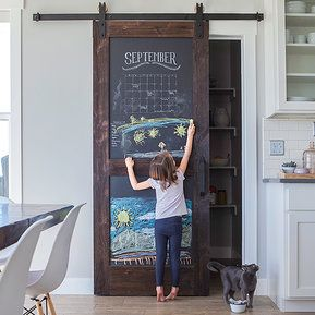 genious sliding barn door for pantry with chalk paint new house
