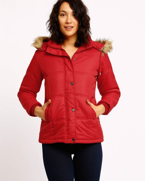 Red Fort Collins Quilted Jacket Fortcollins Jacket Hooded