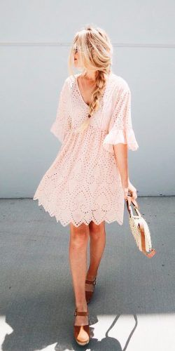 d8e3a0d3aee summer wedding guest dresses blush short v neckline lace with sleeves  hannah westby for spring