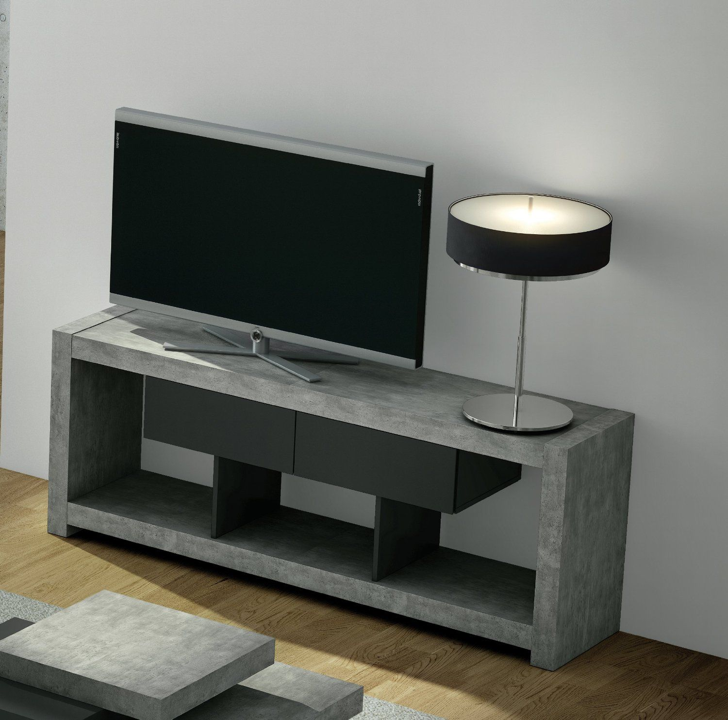 Bedroom Tv Stands: Temahome Concrete TV Stand.