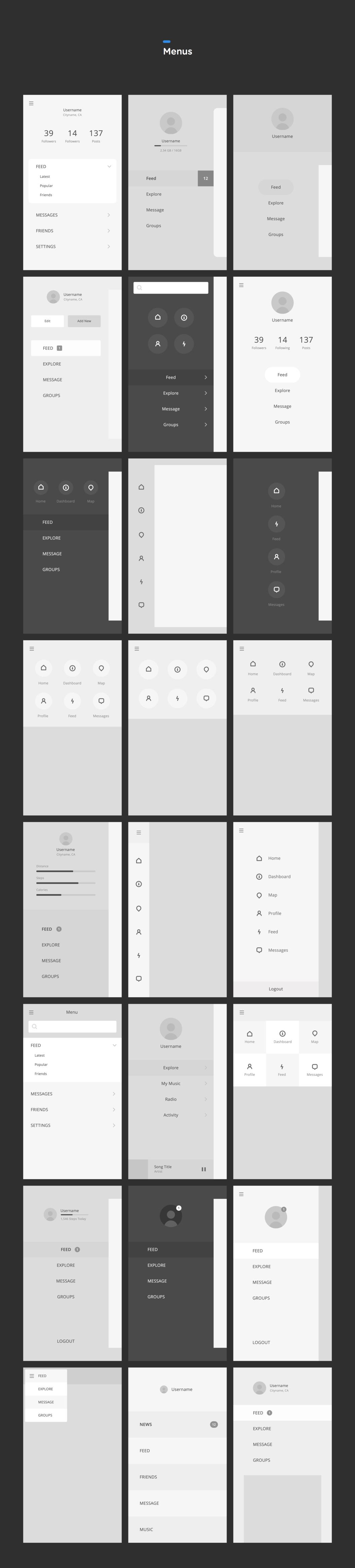 Menu Wireframe Templates User interface design