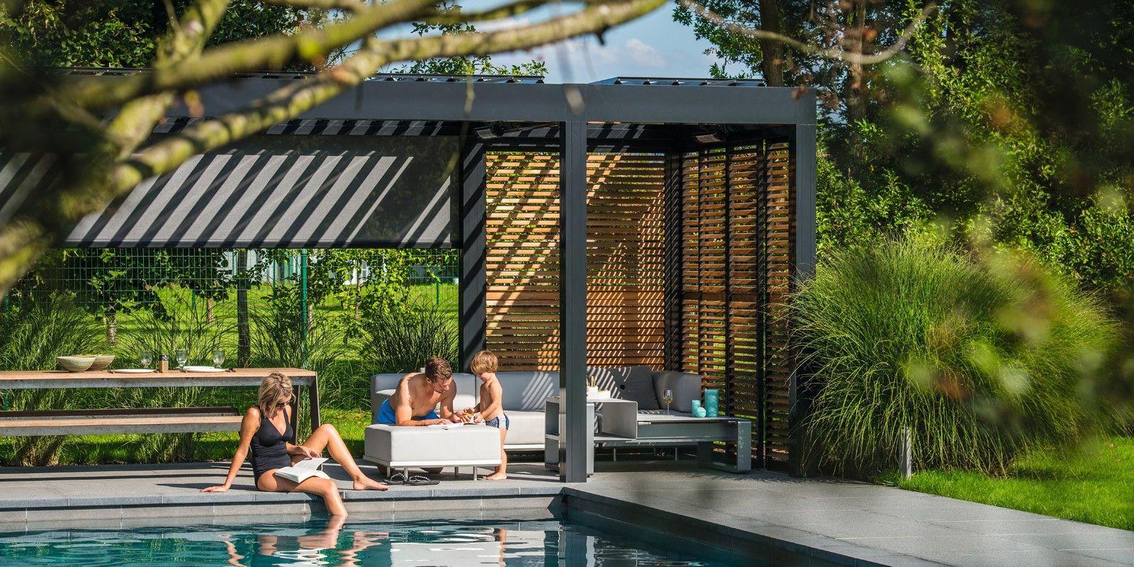 Overkapping met lamellen in tuin bij zwembad via jumbo tuin terras veranda overdekt - Verwijderbare terras zwembad ...