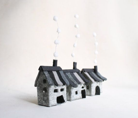 Miniature three grey felt houses Small village Home by Intres, $25.00