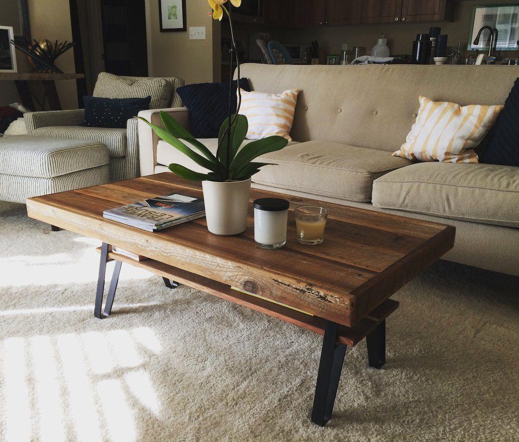 Rustic Reclaimed Wood Coffee Table With Metal Legs And Shelf Three Urban Mining Company Mesas De Cafe Mesa De Centro Madera Salones De Madera [ 872 x 1024 Pixel ]