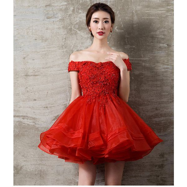 Short Red Dress Lace Short Wedding Dress Hot Party Dress For Women 110 Liked On Polyvore Featuring D Elegant Red Dress Short Lace Dress Red Dress Short