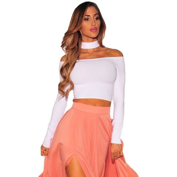 White Sleeved Off Shoulder Choker Crop Top (22 BAM) ❤ liked on Polyvore featuring tops, off shoulder tops, white top, white off shoulder top, off the shoulder crop top and white off the shoulder top