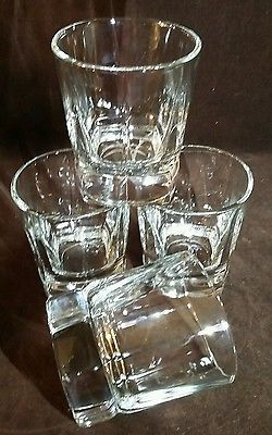 Awesome SET OF 4 LIBBEY SQUIRE DOUBLE OLD FASHIONED CLEAR ROCK WHISKEY GLASSES 12  OUNCES