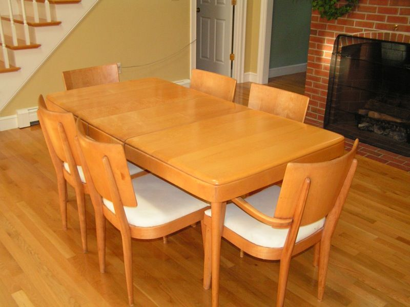 Heywood Wakefield Dining Table U0026 4 Armless Chairs (with White Vinyl Seats  Too!)