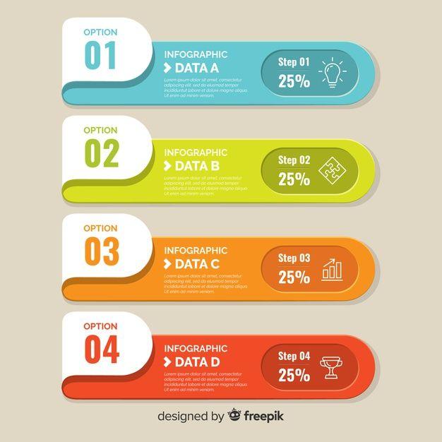 Fond plat infographique coloré Vecteur g  Premium Vector