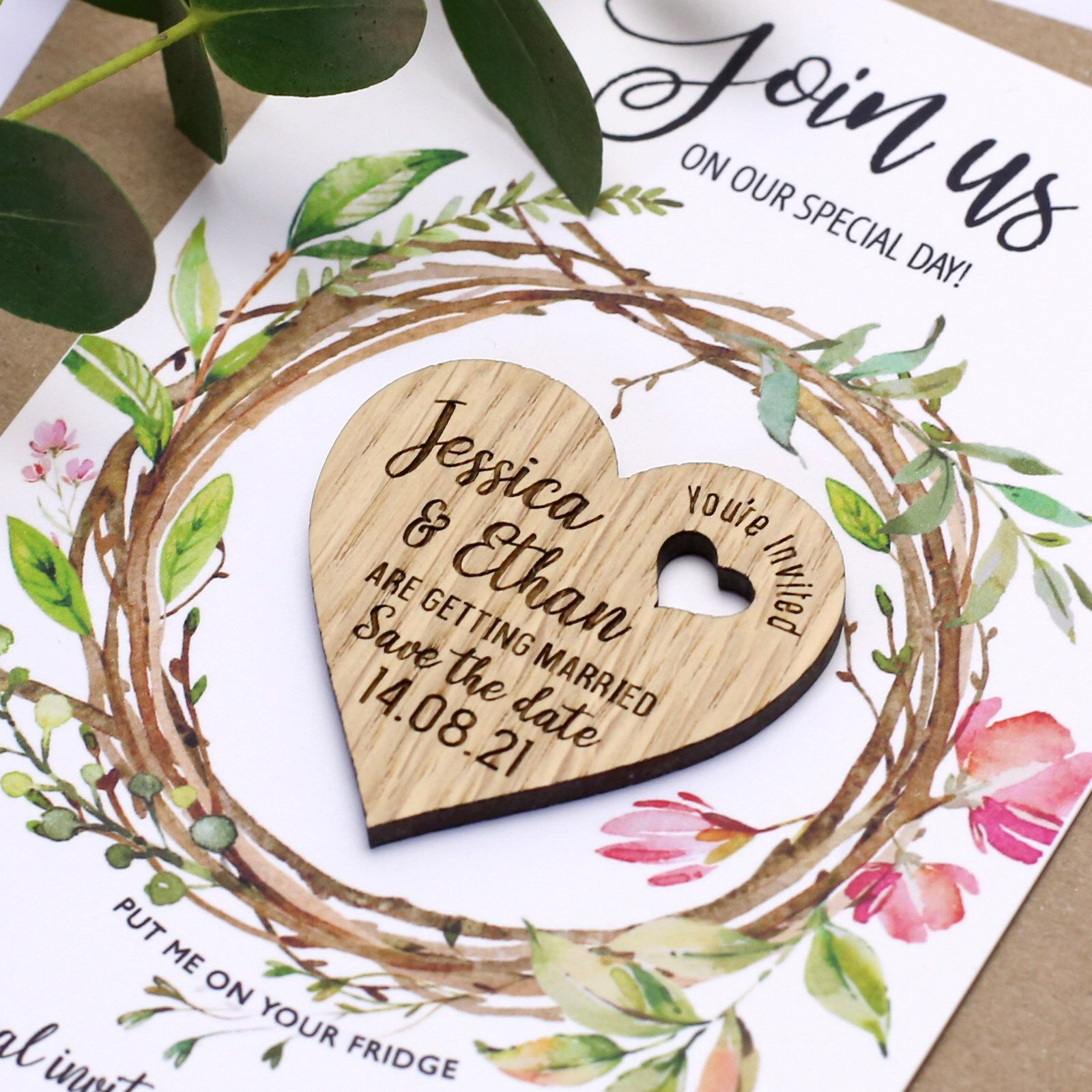 Save The Date Magnet With Cards Personalised Heart Wedding