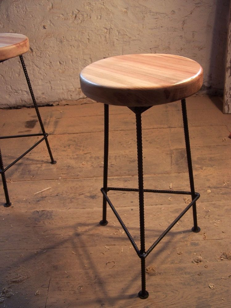 Elegant Custom Made Bar Stool Made From Maple And Metal Simple Elegant - Fresh metal bar stools Model