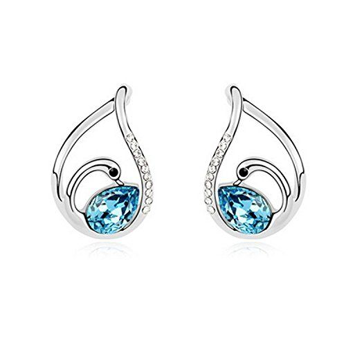 Kalis Platinum Plated Alloy Sea Blue Swan Shape Austria Crystal