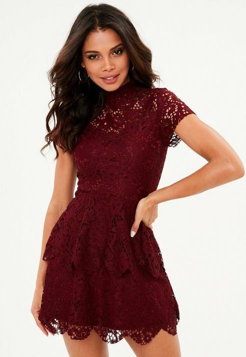 e52dab6463 Burgundy short sleeve double layer skater dress in 2018