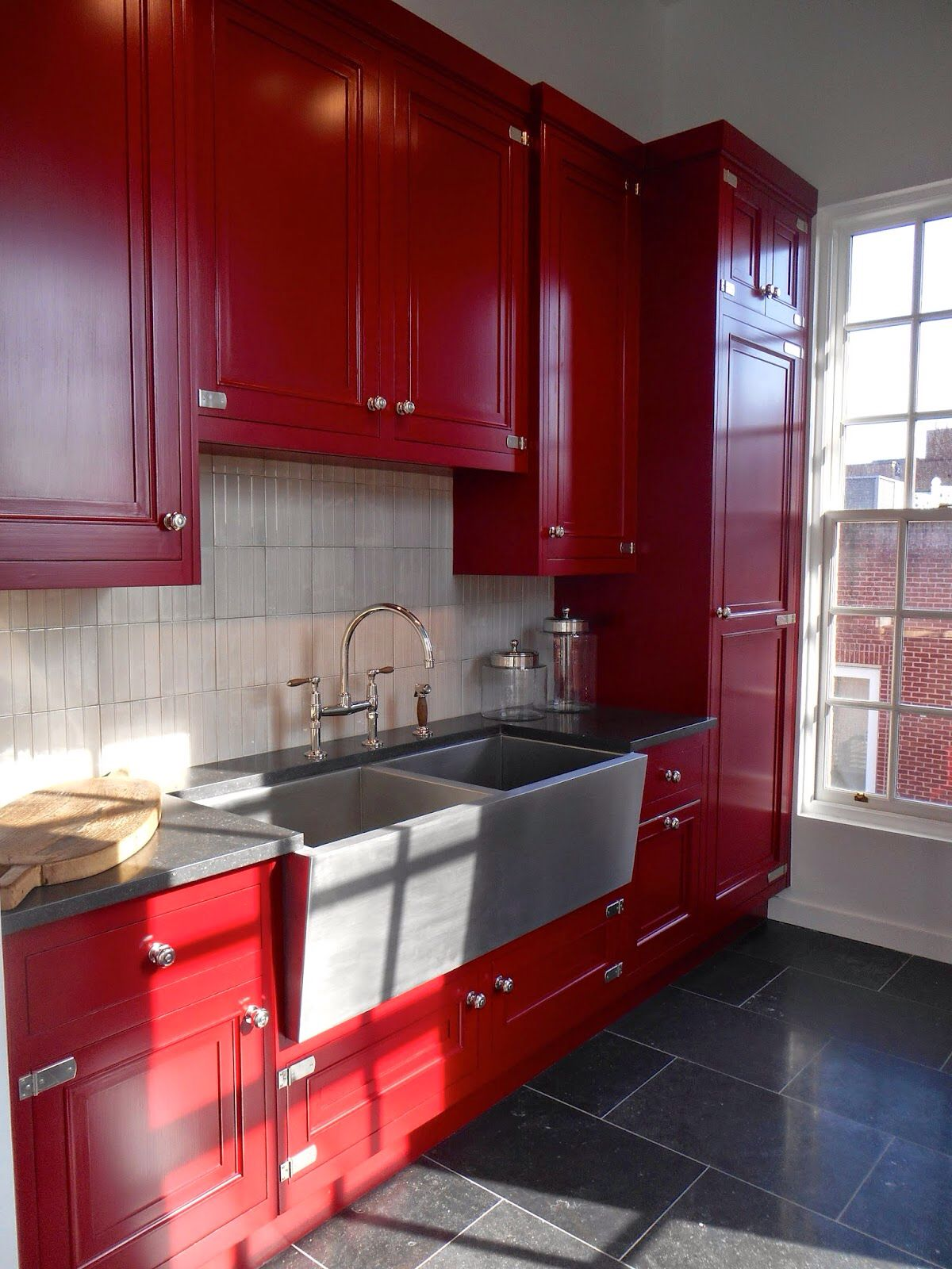 Laundry room imagine red appliances across
