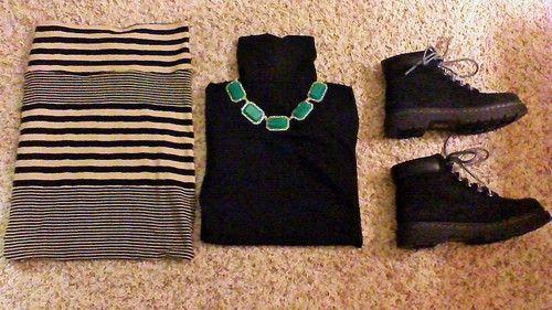 •Striped Maxi Skirt: Charlotte Russe •Black Turtleneck: H&M •Green/Gold Necklace: Charlotte Russe •Black Lug Boots: Charlotte Russe