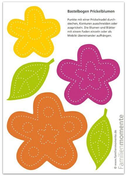 Deko-Mobile Blumen - Bastelbogen zum Prickeln - Orange/Lila/Gelb