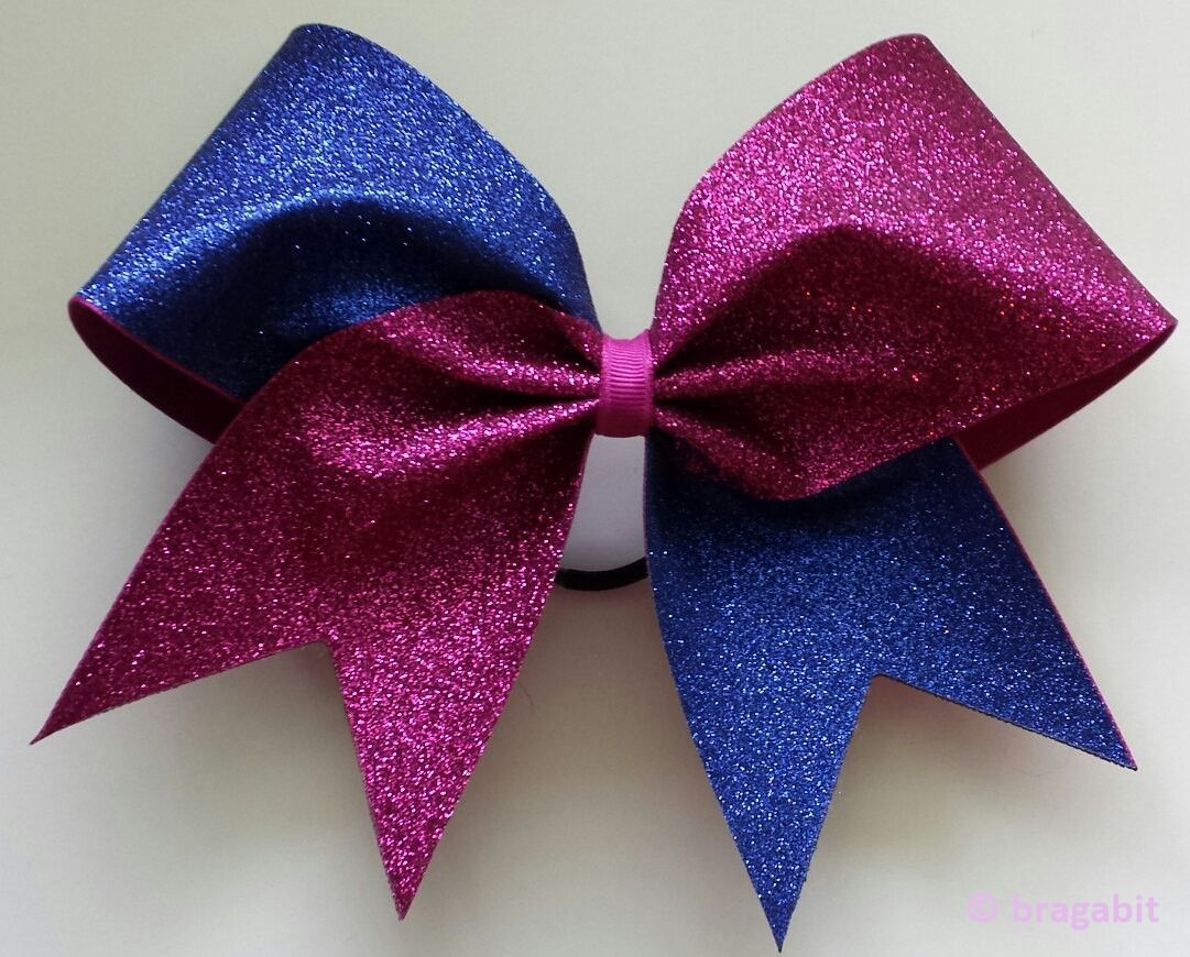 Cheer bow holder for cheer bows and hair bows cheer bow hanger - Royal Blue And Pink Glitter Cheer Bow