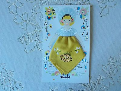 WOMAN'S VINTAGE HANKIE ON REPRODUCTION GIFT CARD W/ENVELOPE #3