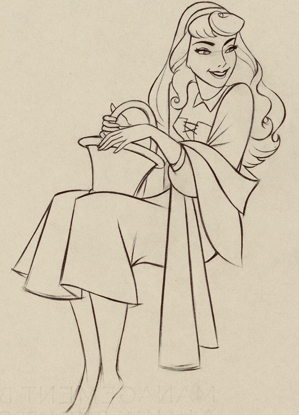 Sleeping Beauty Briar Rose Production Drawing Animation Art Walt