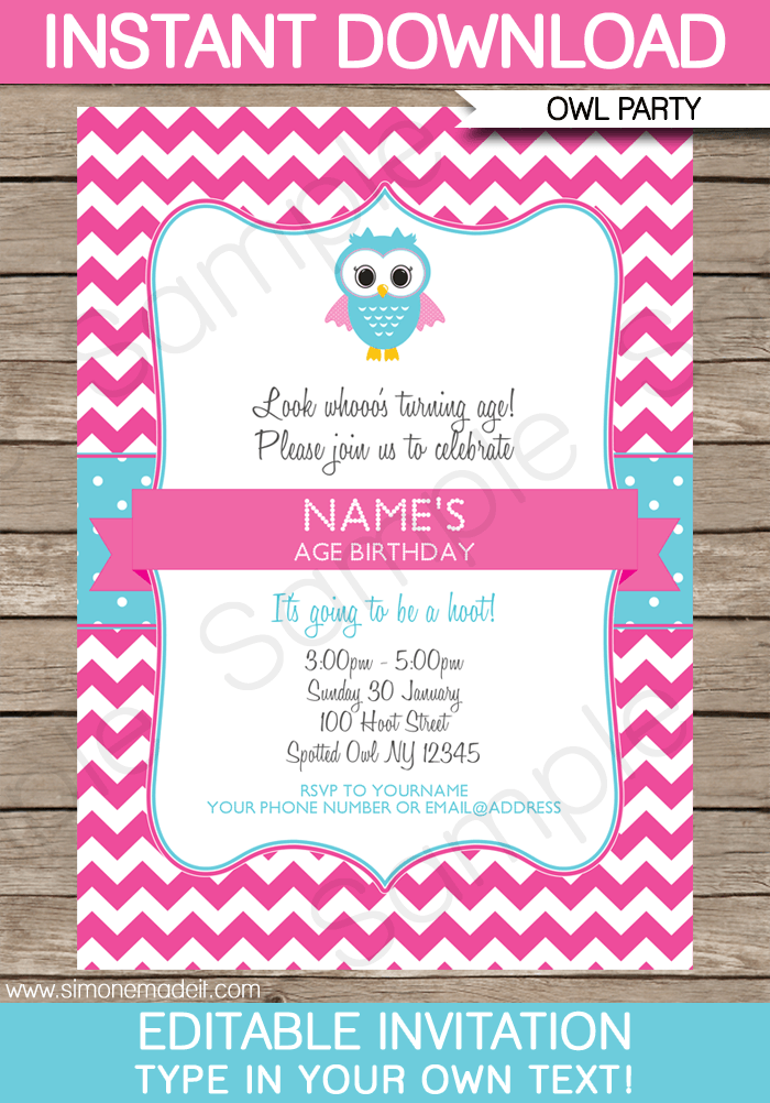 Owl Party Invitations Template Pink Bon S Bday Pinterest
