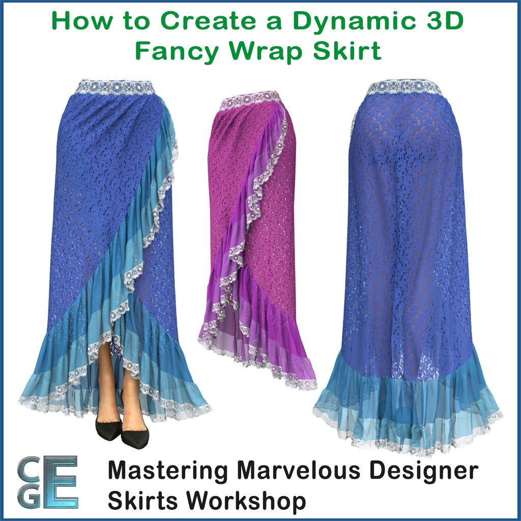 Tutorials how to make a Marvelous Designer Fancy Wrap Skirt ...