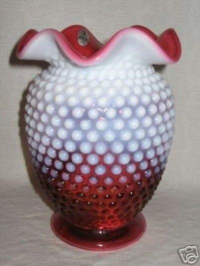 52 Fenton Cranberry White Hobnail Vase 10022007 Ruby