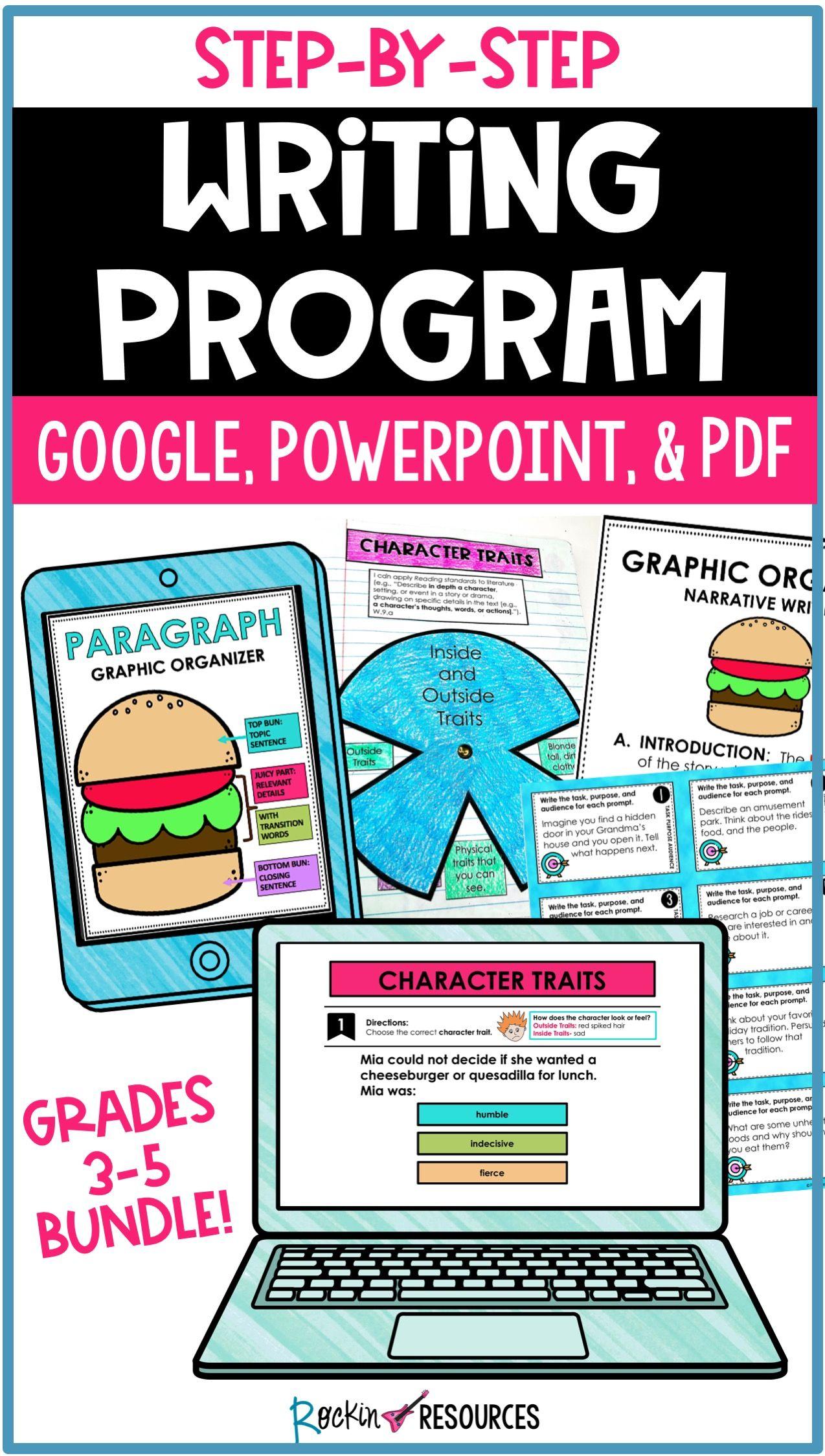 Writing program bundle printable and digital for