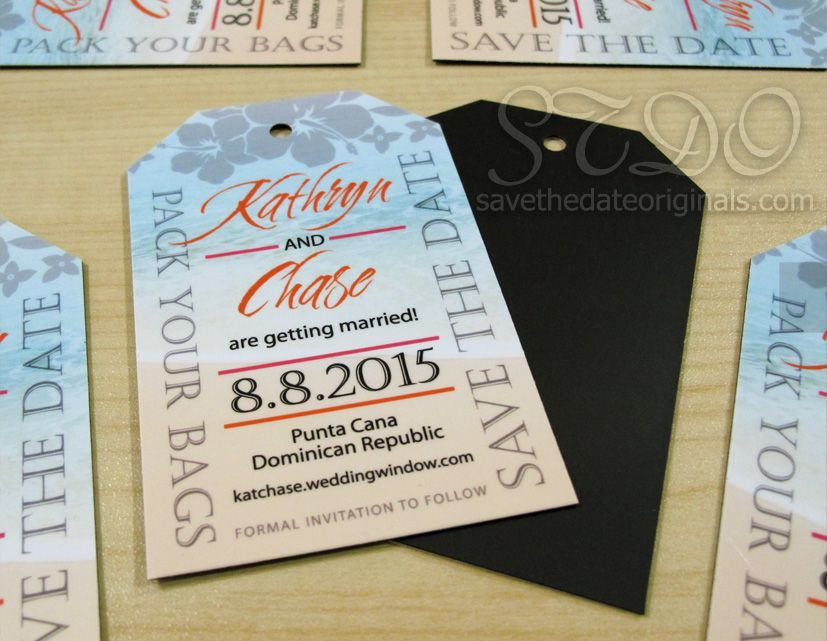 Luggage tag save the date magnets idea for a destination wedding