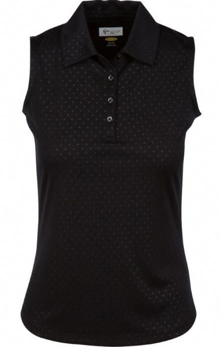 82f46df60 Check out our Black ESSENTIALS Greg Norman Ladies Embossed Dot Sleeveless  Golf Polo Shirt! Find stylish golf apparel at  lorisgolfshoppe Click  through to ...