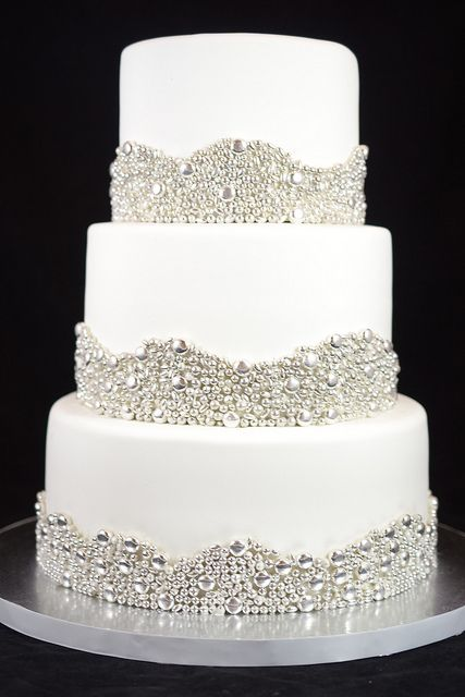 Elegant Wedding Cake with Silver Dragees Borders   When I say I DO     Elegant Wedding Cake with Silver Dragees Borders   Flickr   Photo Sharing   So elegant