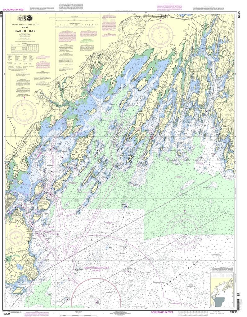 Noaa Chart 13290 Casco Bay Nautical Chart Map Casco Bay