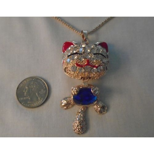 new kitty cat necklace blue belly rhinestones listing in the necklaces costume jewelry