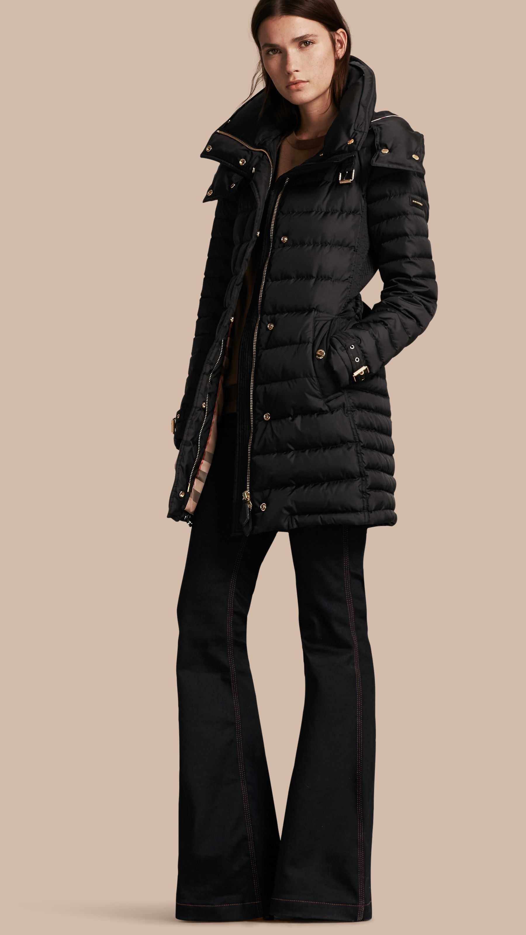 Down Filled Puffer Coat With Packaway Hood In Black Women Burberry Puffer Coat Coat Ladies Tops Fashion