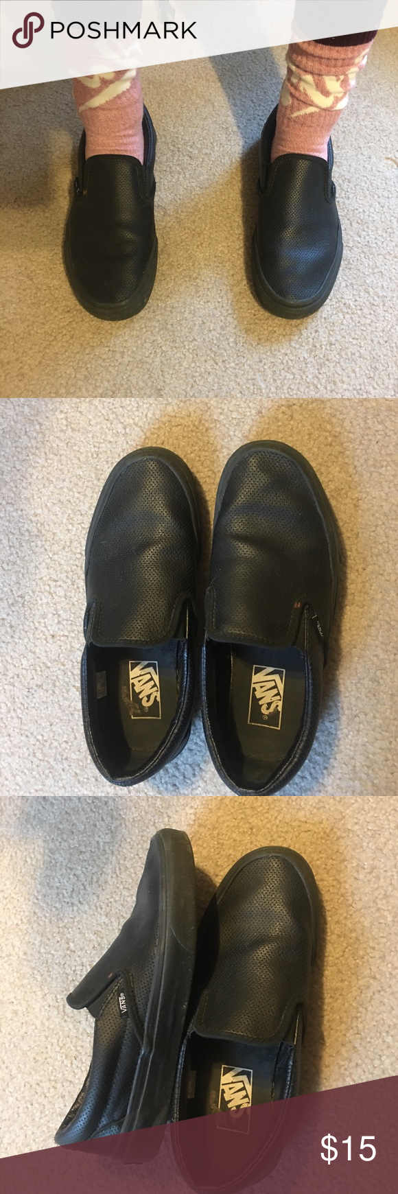 BLACK SIZE 6.5(male) 8(female) SLIP ON VANS barely worn Vans Shoes Flats & Loafers