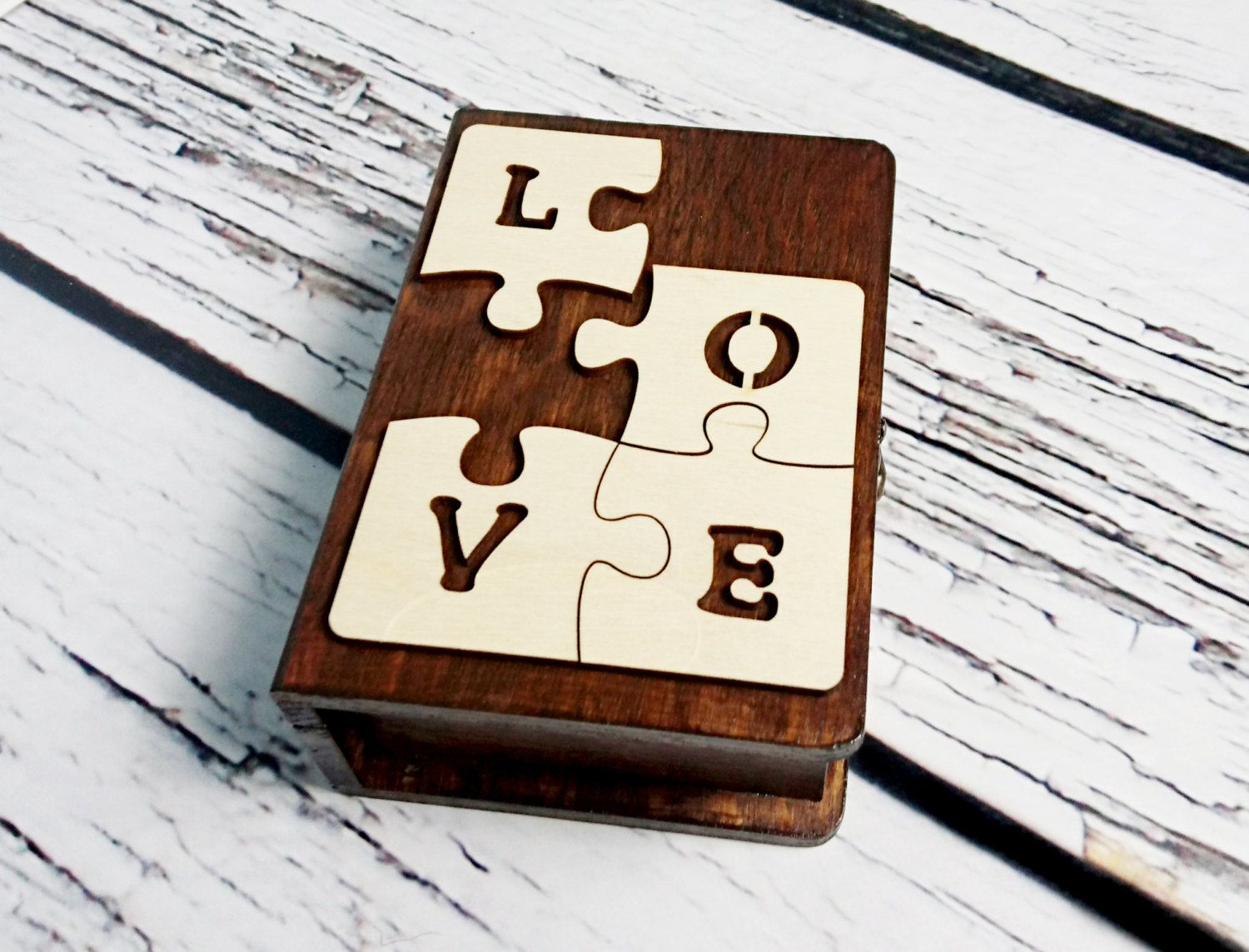 puzzle wedding rings Wedding rings box engagement ring box book shaped love puzzle wedding pillow rustic looking