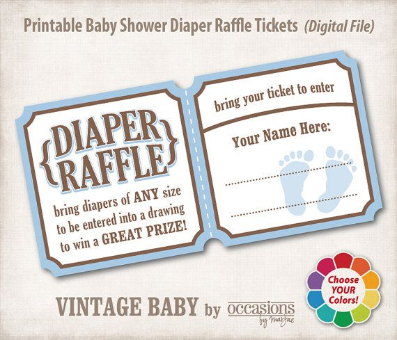 Baby Shower Diaper Raffle Tickets Digital by OccasionsByMarjae - printable raffle ticket template free