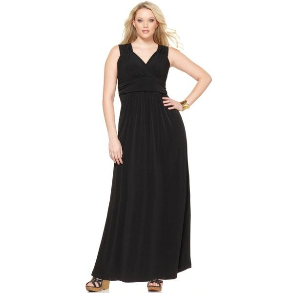 NY Collection Plus Size Sleeveless Ruched Empire Maxi Dress