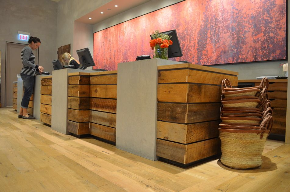 reclaimed wood retail counter | Reclaimed barn siding combines ...