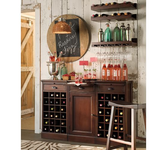 modular bar buffet with 2 wine grid bases u0026 1 cabinet base pottery barn