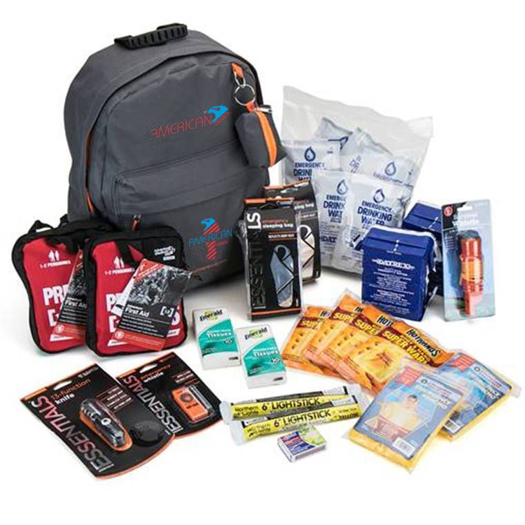 Be prepared for anything that comes your way with this personalized backpack. 3-Day 2-Person Emergency Kit Includes (2) 3600 Calories Food Bars, (12) 4.2 Oz Pouches Of Water, (2) 18 Piece First Aid Kits, 2 Emergency Sleeping Bags, 2 Emergency Ponchos, 4 Hand And Body Warmers, 13 Function Knife, 5-In-1 Survival Whistle, Emergency Whistle, 2 Lightsticks, A Box Of Strike Anywhere Matches, 6 Hard Candies, 2 Tissue Backs, 5 Antiseptic Wipes, And A Medium Backpack.
