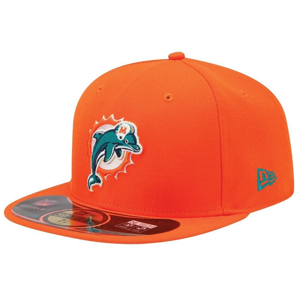 MIAMI DOLPHINS NEW ERA 59Fifty FITTED 7 3/8 HAT CAP ON-FIELD NFL ADULT NE TECH