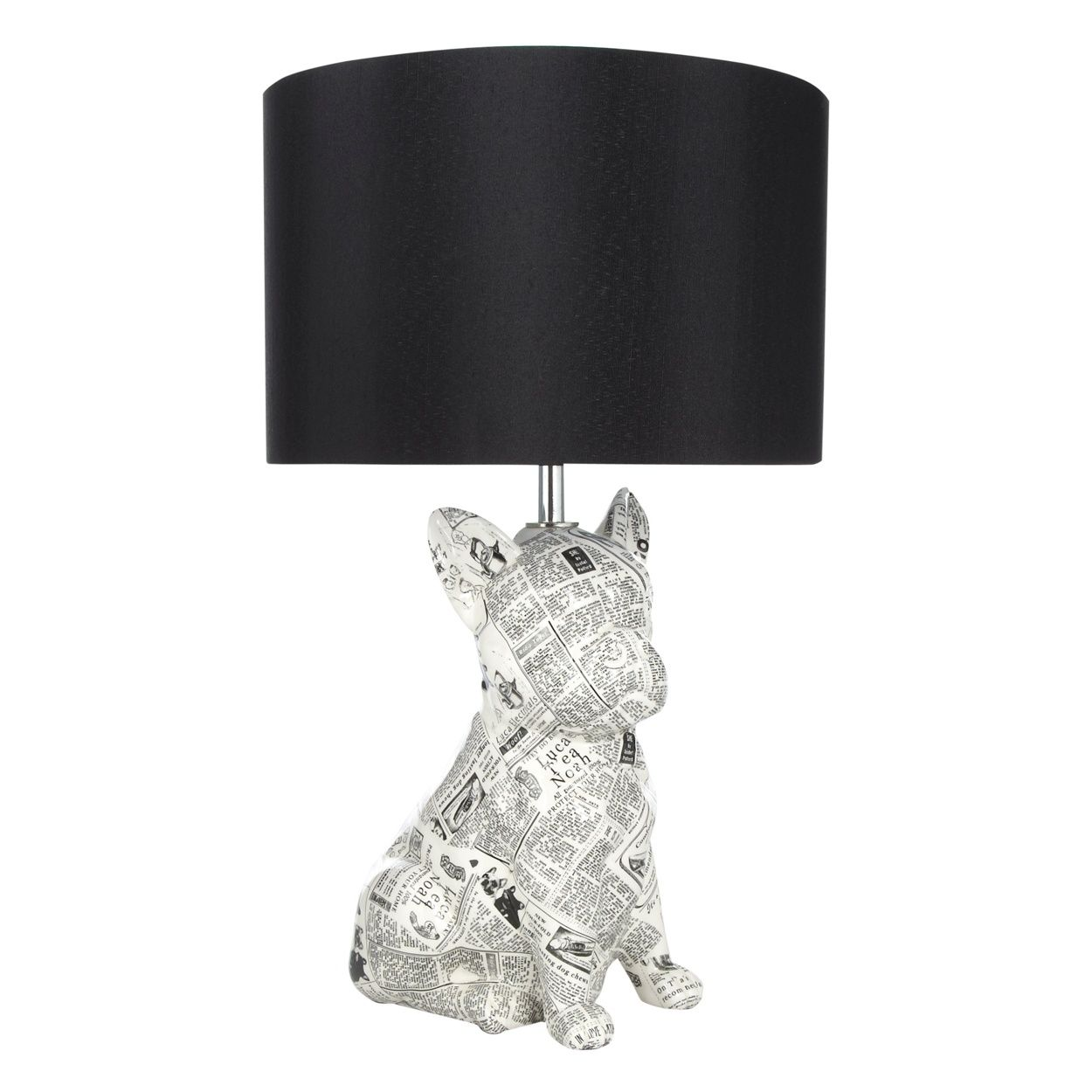 Silver French Bulldog Table Lamp