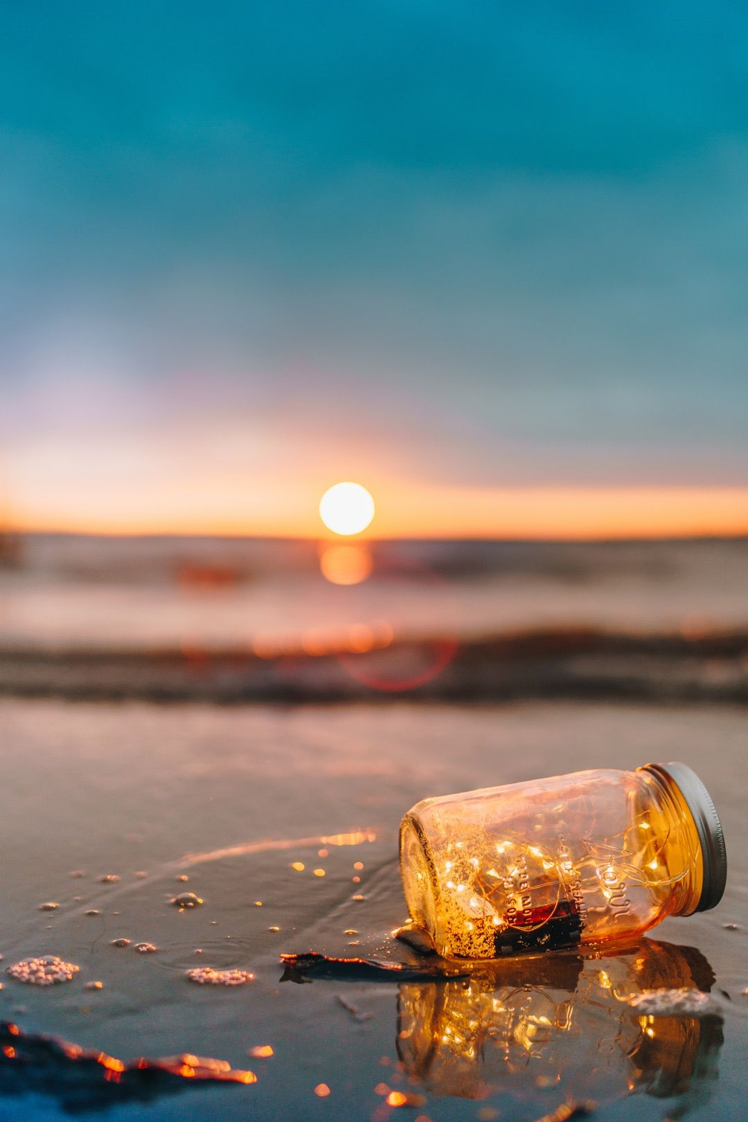 fairy lights, beach, bottle #fairylights